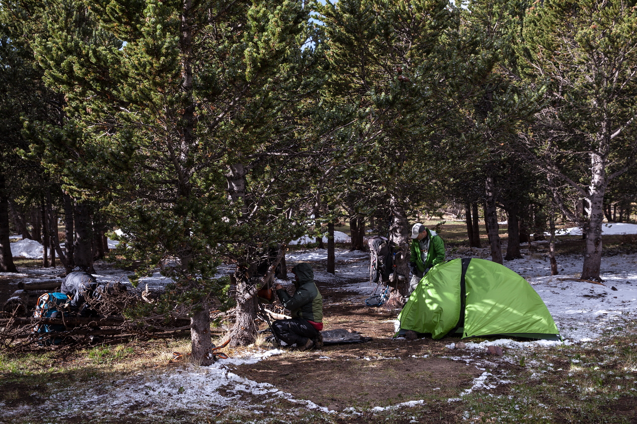 Camp the next morning at Baldy, after a surprise dusting of snow.