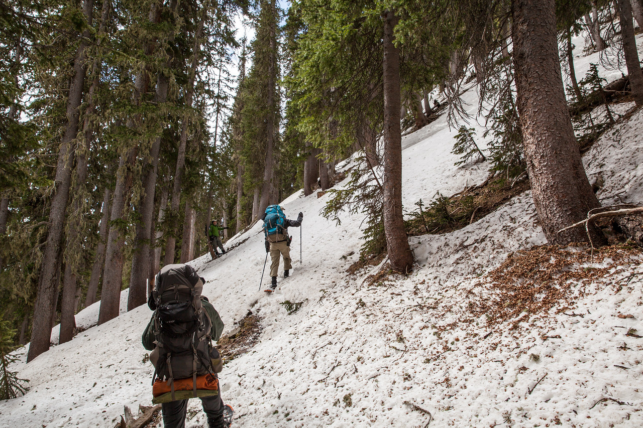 Climbing out of Baldy Lake.  I think this was a 3-4 hour mile because the snow was drifted over the trail still and we had to hunt for the best route up.