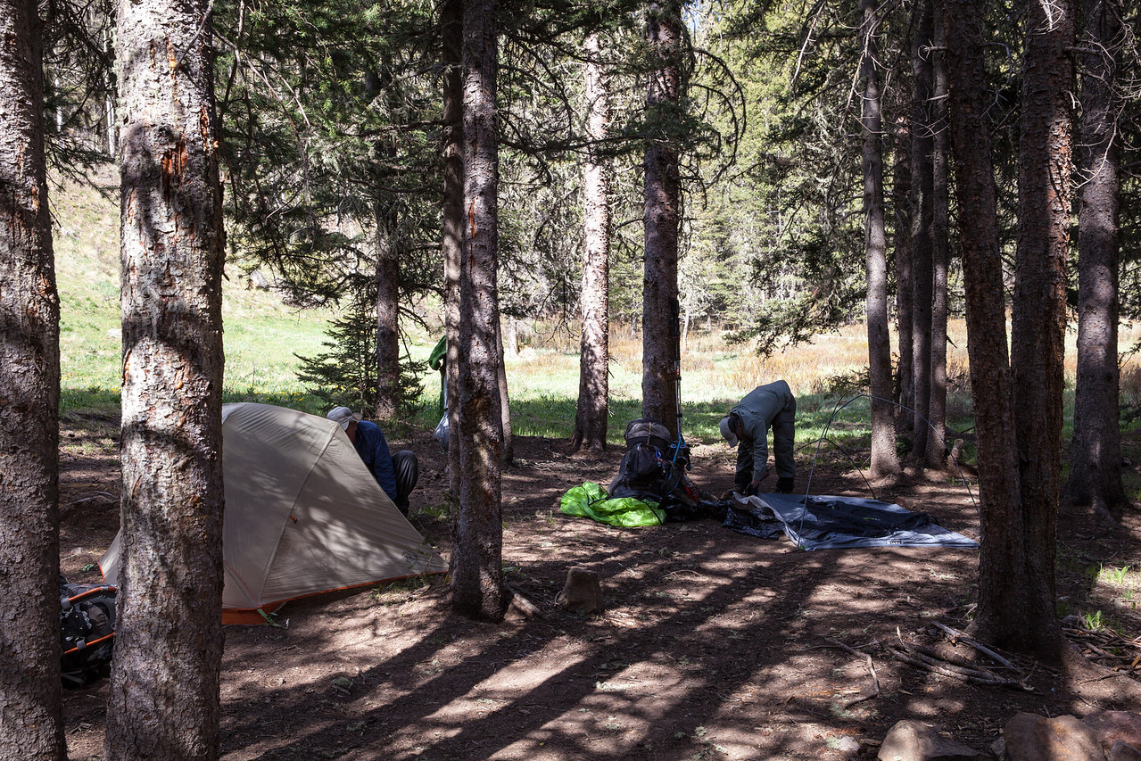Setting up camp in Horsethieves' Meadow.
