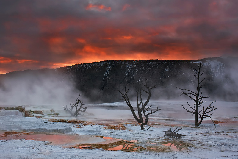 Sunrise at Mammoth Hot Springs<br /> Yellowstone National Park<br /> Published in Montana Magazine, May-June 2010