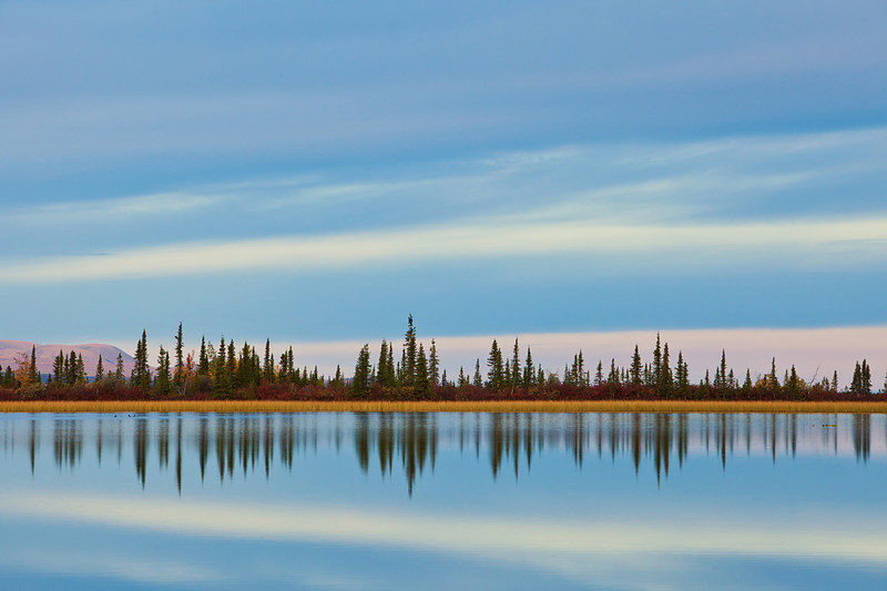 Pastel Skies and Autumn Colors paint this peaceful scene on an unnamed lake in the northern part of Wrangell-St. Elias National Park and Preserve
