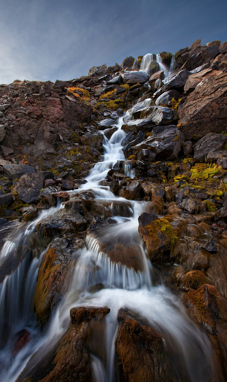 """""""Vertical"""" - Glacial falls near Skolai Pass<br /> Cropped version<br /> (Note:  Best option for framing is to order the uncropped print, and trim to this crop)"""