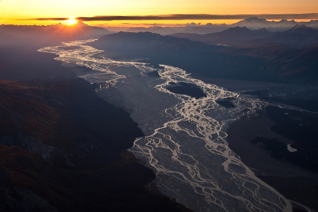 Sunset on the Nizina River - Aerial View -  Wrangell-St. Elias National Park, AK