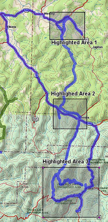 This is the route I drove on 4/29/06.  The three highlighted areas correspond to the three more detailed maps posted.