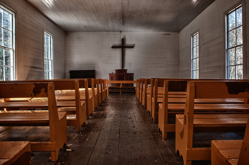 Smoky Mountains, Cataloochee Area, church interior