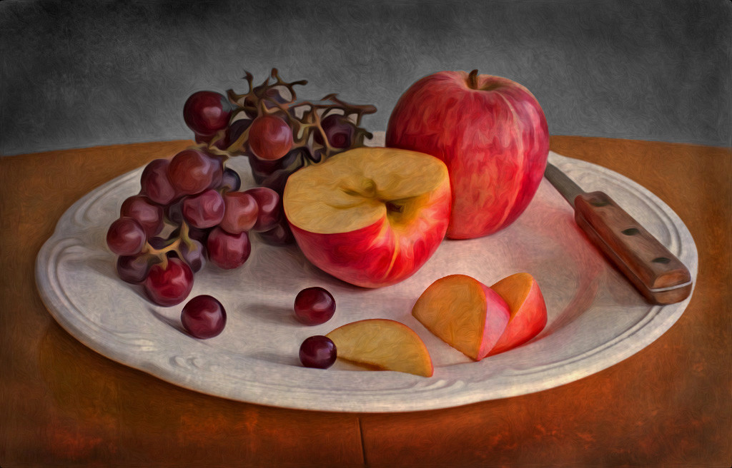 Still Life: Apples & Grapes