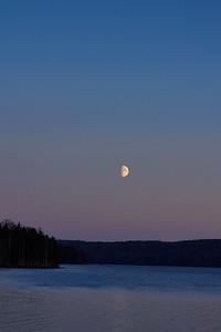 Half moon over the lake