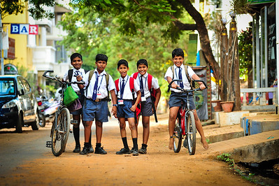 Schoolchildren Pondicherry, South India