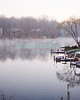 Lake Thoreau, Reston, Virgina, USA.  Mist rises of the lake on a cold winter day.  © Rick Collier<br /> <br /> <br /> <br /> Lake Thoreau Reston Virgina lake reflection serene serenity reflections tree trees mist fog cold snow winter