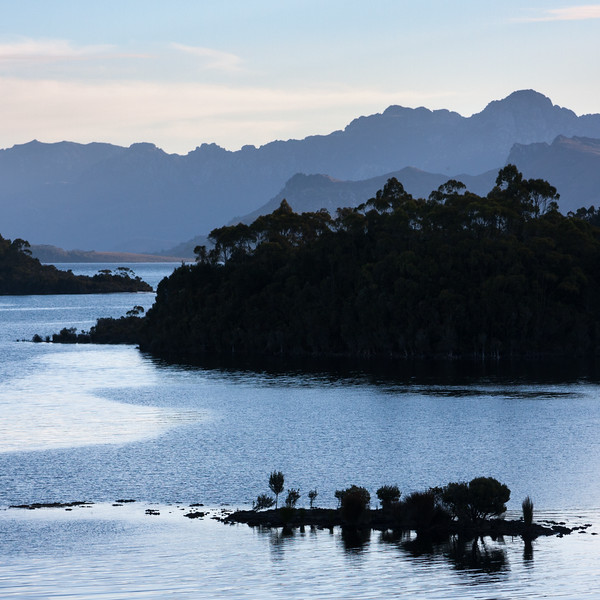Lake pedder at dusk from Chalet