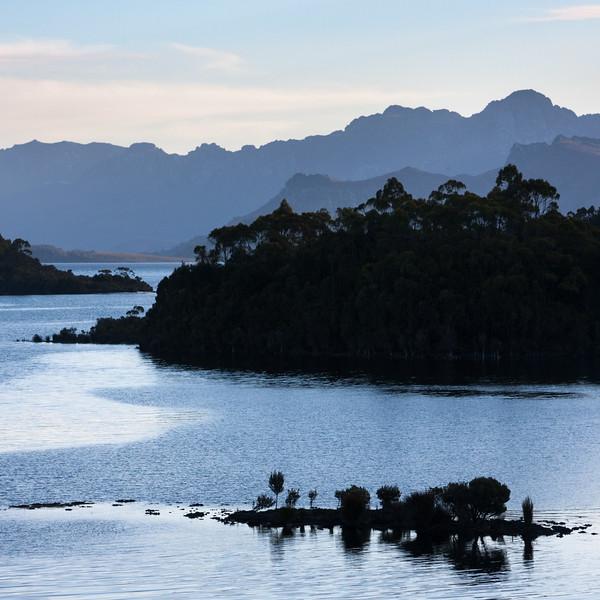 Lake pedder at dusk from Chalet