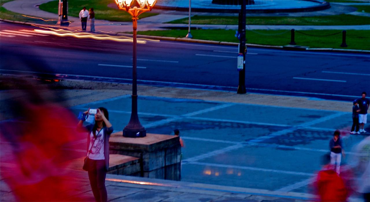 "Tourists climbing the ""Rocky"" steps to the Philadelphia Museum of Art"