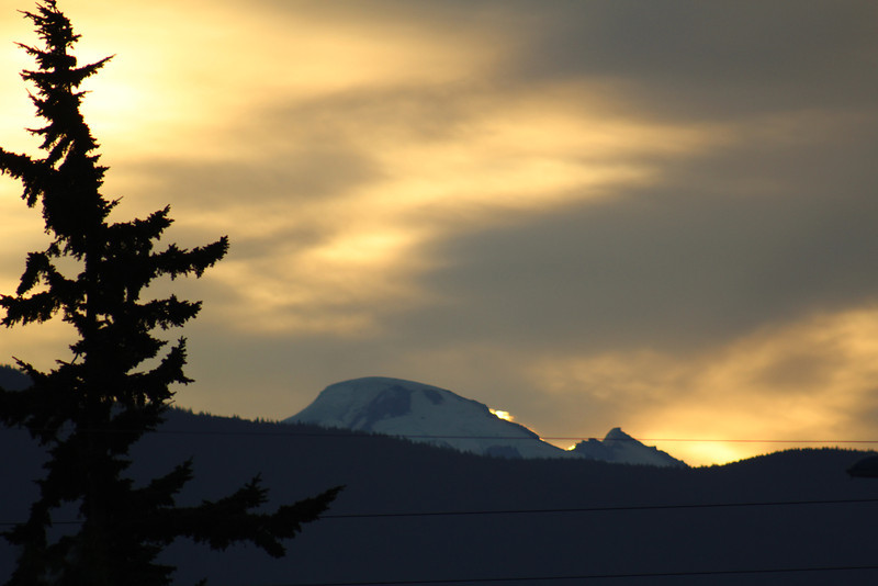 The tip of Mt. Baker from my house.  It was an early-morning departure...