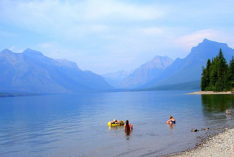 Swimming at Lake McDonald in Glacier National Park.2006