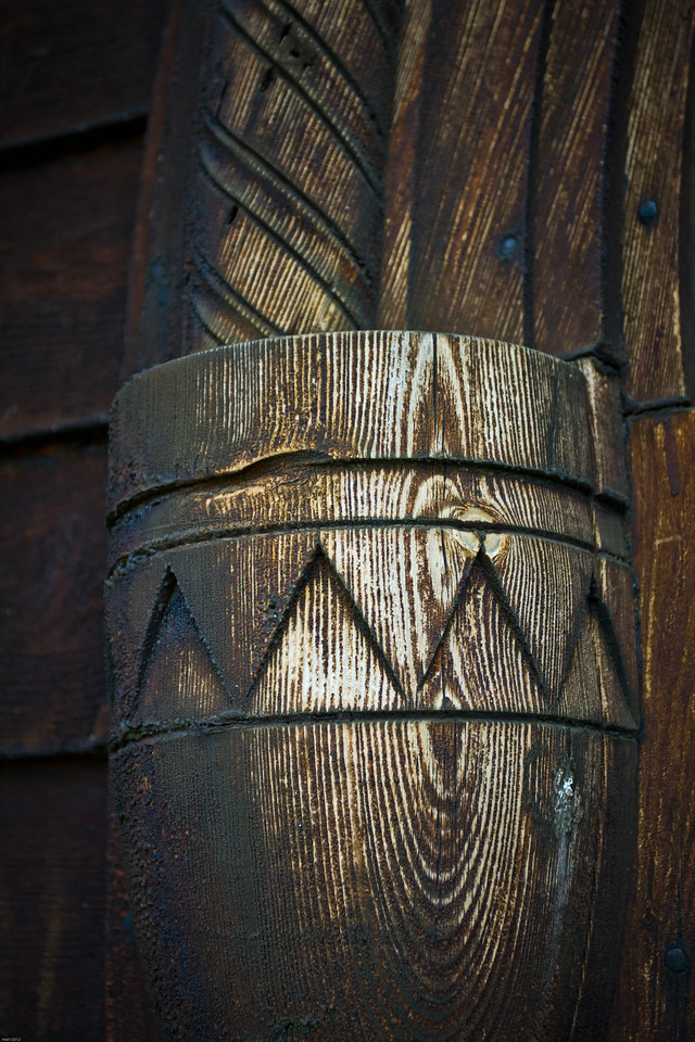 Detail from the entry of the Røldal stave church.