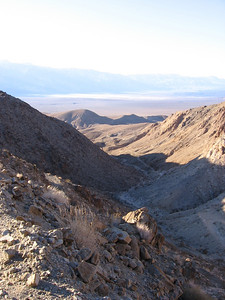 Climbing up the road towards Lippincott Mine & Homestake, looking back. Saline Valley playa in distance.