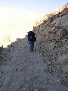Climbing ever upward on the road; rather steep in places.