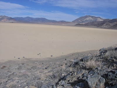 Looking northerly along the eastern edge of Racetrack playa. Lots of rocks out there going places.
