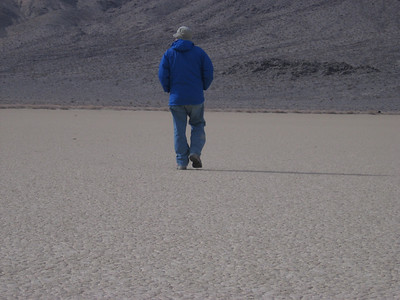 Out walking on the playa. The road is along the western edge.
