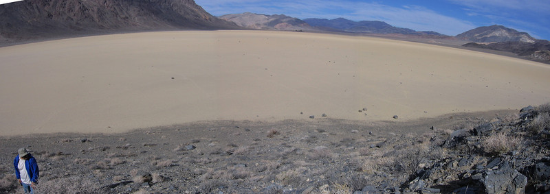 Panorama taken from hillside at southeast corner of The Racetrack, where the rocks tumble down onto the playa surface and begin their wanderings.