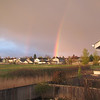 April 7, 2011.  Unfortunately this picture does not convey how sharp and strong and vivid the colors of this rainbow were.  It was unusually wide and bright.
