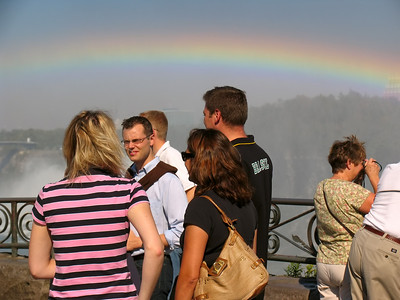 Rainbow over visitors to Niagara