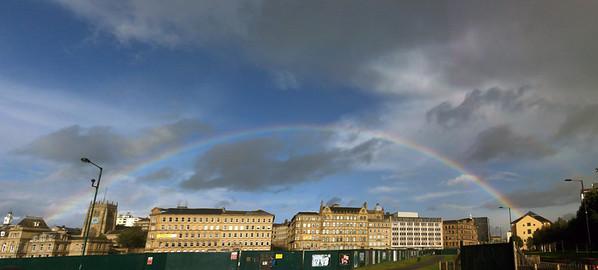 iPhone 3GS panorama of rainbow over Bradford