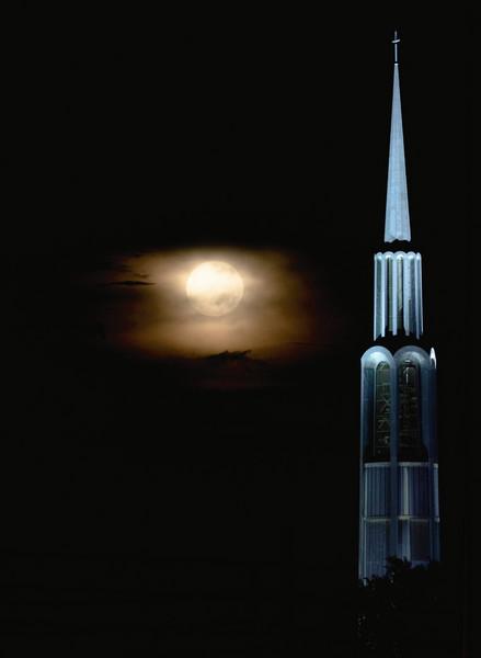 Moon over church.