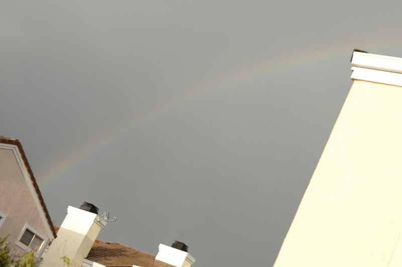 Rainbow from the roof to the gutter
