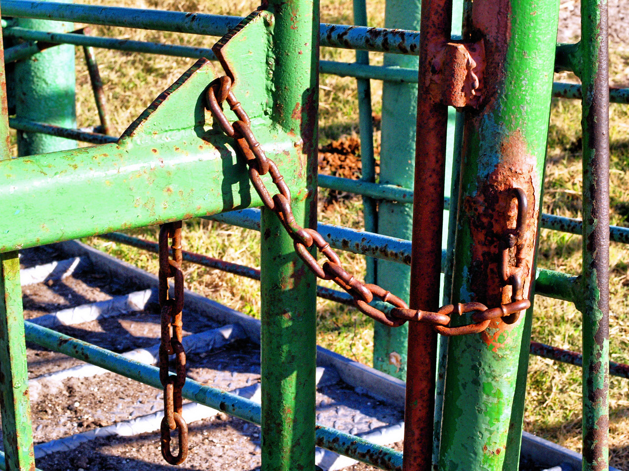 OLYMPUS DIGITAL CAMERA--The gate is closed, fastened by a chain.
