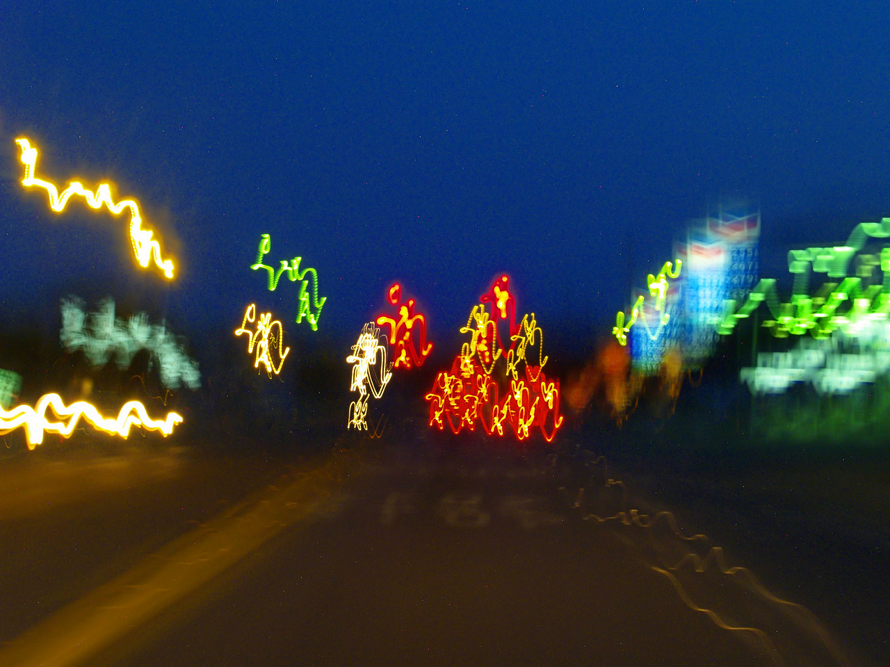 OLYMPUS DIGITAL CAMERA--Roadside lights in Karnes City, Texas.