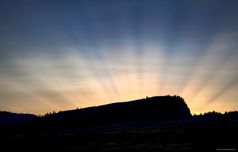 Buffalo Jump Sunset and Eagle near Elmo on Flathead Lake