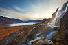 Alpine Awakening<br /> Waterfall and Russell Glacier, Wrangell-St. Elias National Park, AK<br /> Published in Popular Photography, March 2010, 2nd Place, Your Best Shot contest