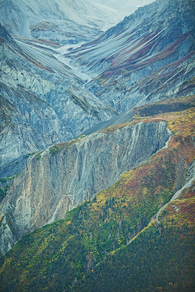 Patterns and color.  Aerial view, Wrangell-St. Elias Nat'l Park, Alaska