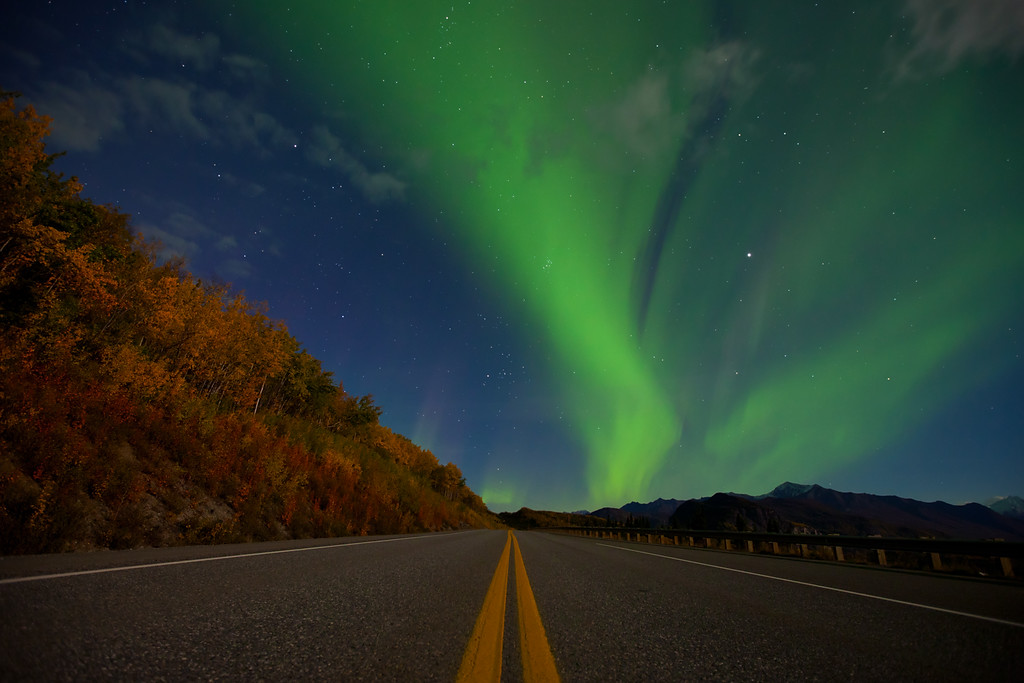 Light Show II.  Aurora borealis along the Glenn Highway, Alaska.