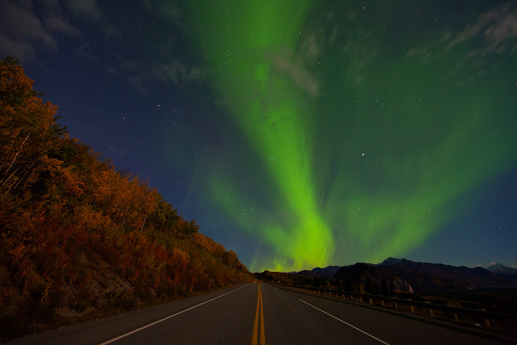 Light Show.  Aurora borealis along the Glenn Highway, Alaska.