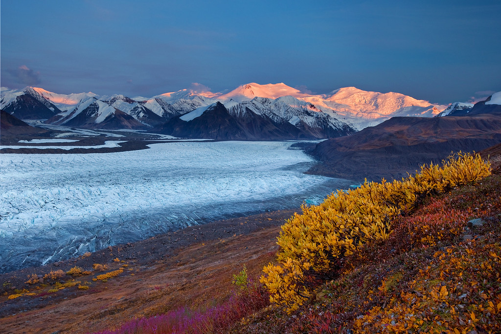 Russell Glacier, Mt. Churchill, and Mt. Bona at Sunset - Wrangell-St. Elias National Park, AK