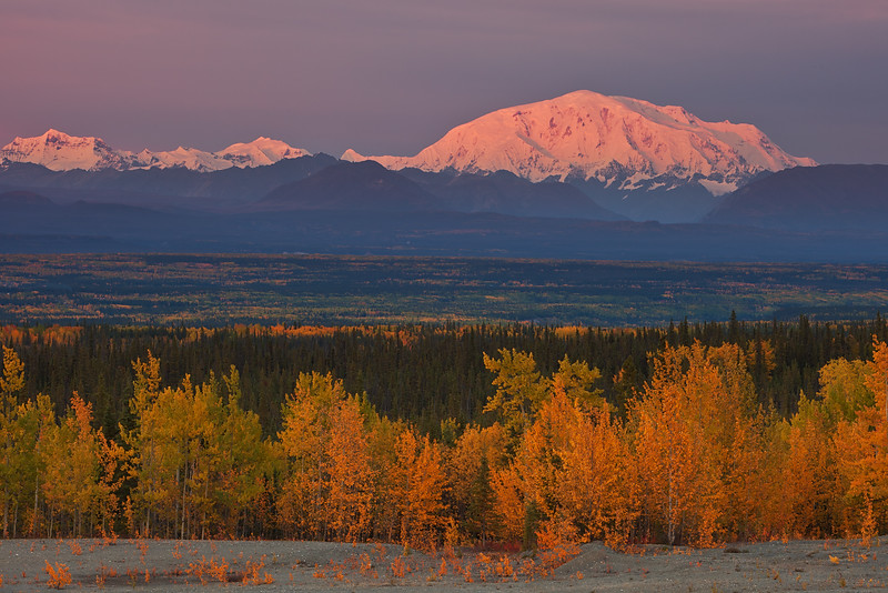 Autumn Sunset, Mt. Blackburn, Wrangell-St Elias National Park and Reserve, AK