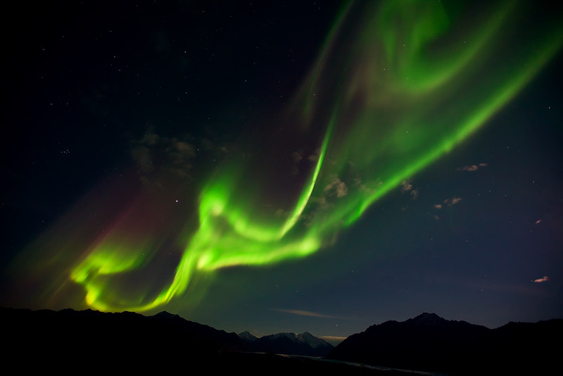 Dancing Lights II.  Aurora borealis over the Matanuska Glacier and Chugach mountains, Alaska