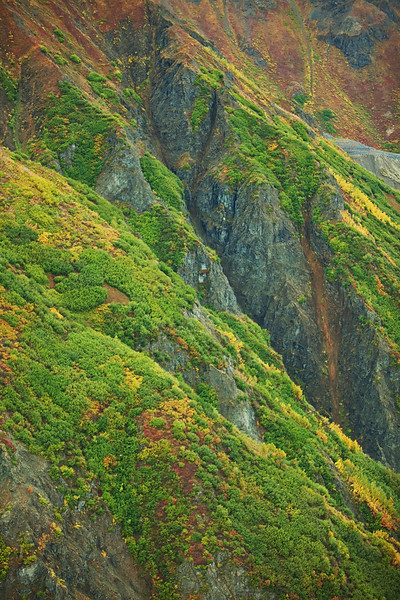 Steep Slopes, aerial view, Wrangell-St. Elias National Park, Alaska.