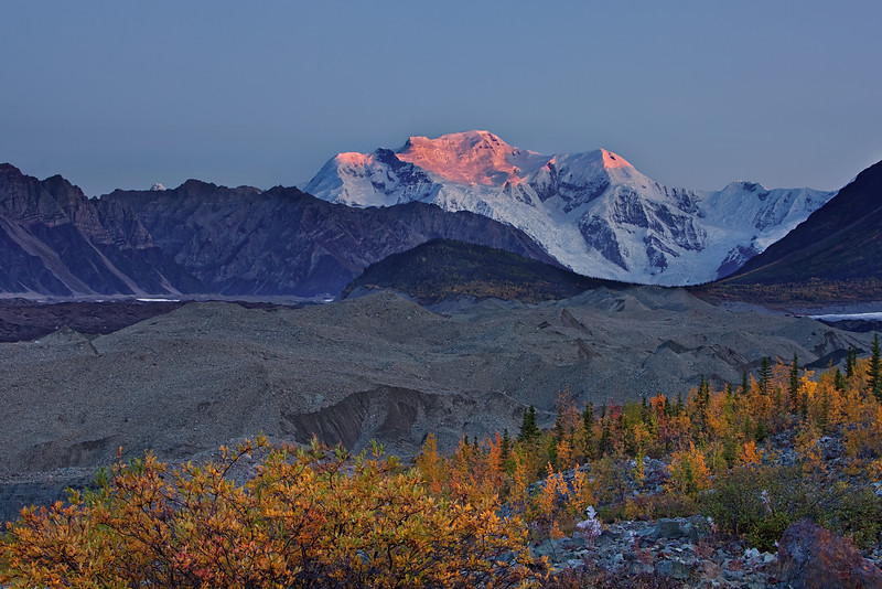 Mount Blackburn Alpenglow from Kennicott