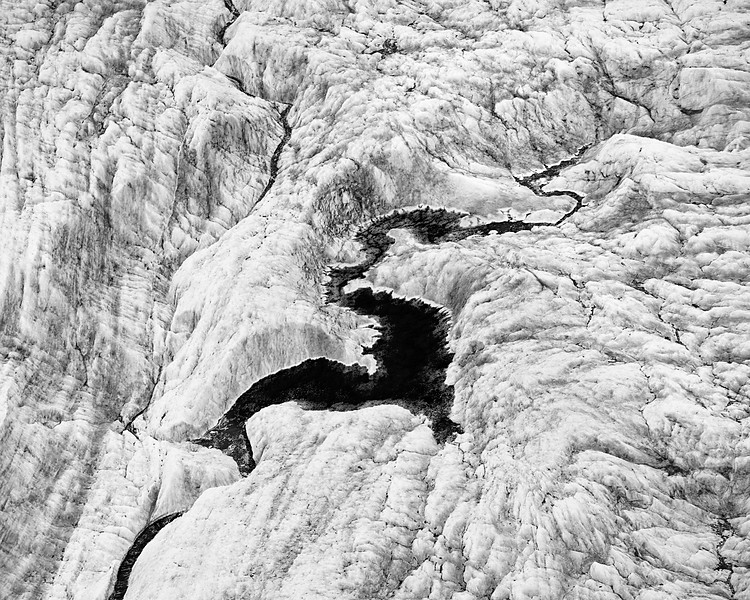 Glacial 'S'tream (BW), aerial view, Wrangell-St. Elias National Park, Alaska.