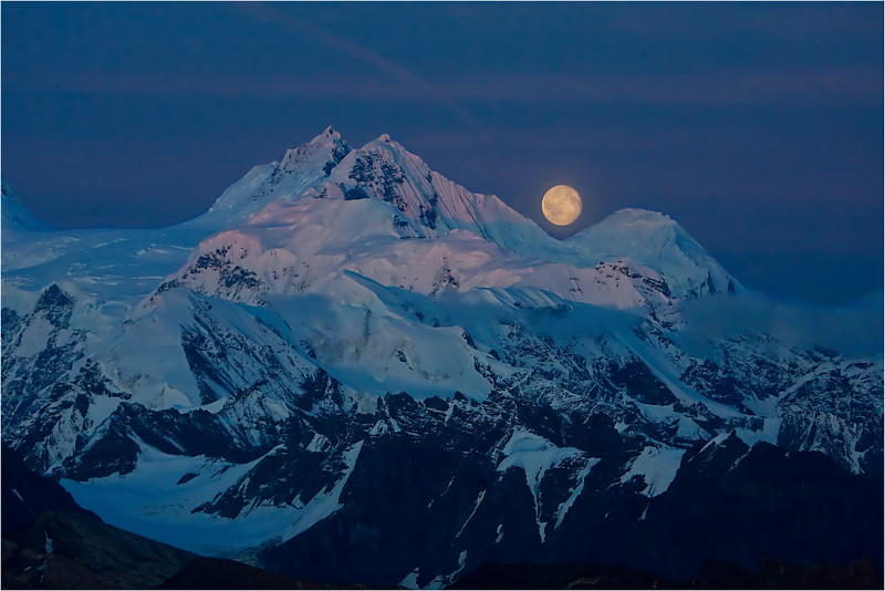 Moonrise Over the Twaharpies - Wrangell-St. Elias National Park, AK<br /> Taken on an evening aerial flight.  This is a single exposure, not a composite!
