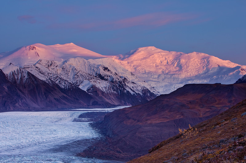 Alpenglow on Mount Churchill and Bona - Wrangell-St. Elias National Park, AK