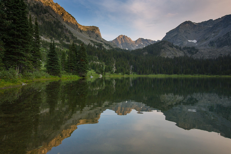 Mirror Lake at Sunset, Lee Metcalf Wilderness, Spanish Peaks Unit, Montana
