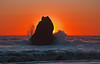 Sea Stack, Sunset, and Surf