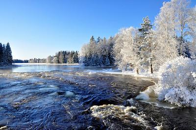 Winter river landscape in Sweden