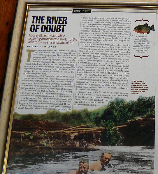 RRooLegend20105 July 7, 2007  10:07 a.m.  P1020105 Story of Teddy Roosevelt and the River mounted on the lodge wall, p.1 of 2