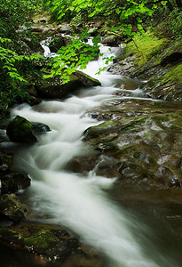 This is a cascade that runs along the forest service road #140 approaching Courthouse Falls.  Viewed from a bridge.