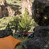 "Cool ""Hobbit"" camp Ken found on river left below Cabin amongest Western Juniper and big boulders"